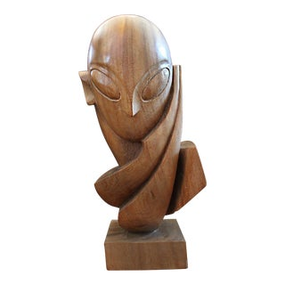 Mid Century Modern Figurative Brancusi Philippine Mahogany Wood Carving For Sale