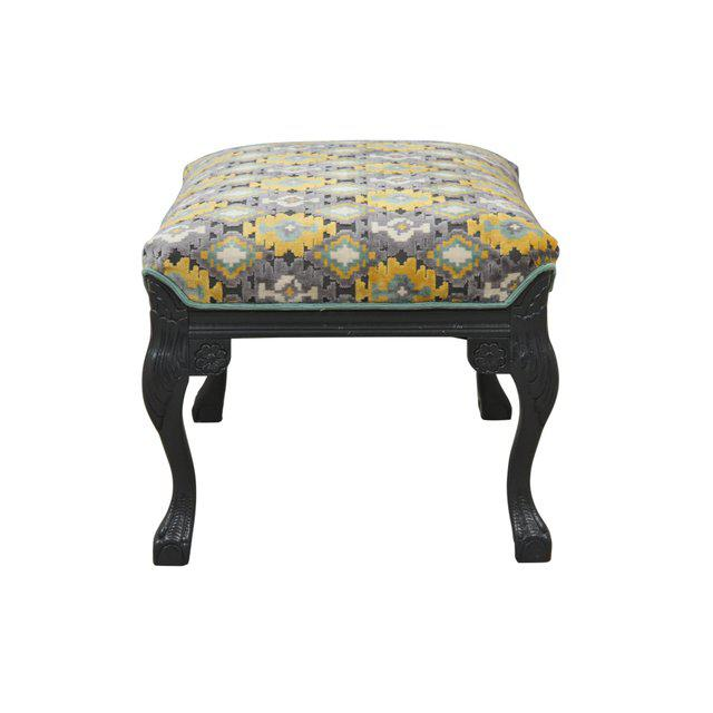Newly Upholstered Carved Ottoman in Gray, Yellow & Teal - Image 3 of 6