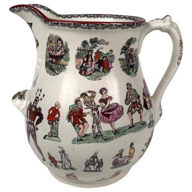 Giant 19th Century Staffordshire Pottery Harlequin Pitcher For Sale - Image 13 of 13