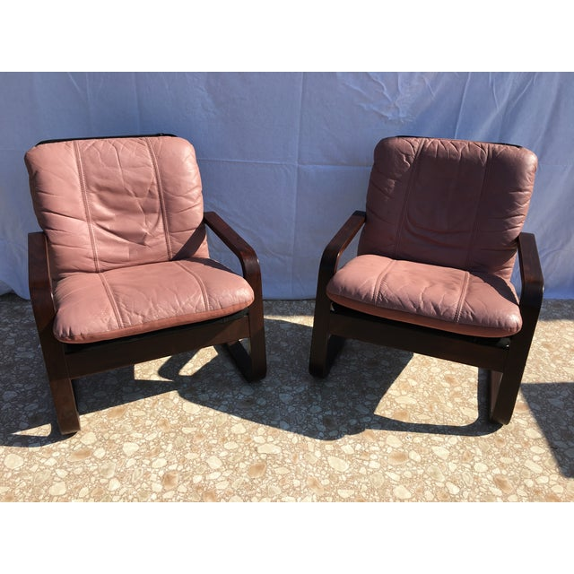 Blush Mid-Century Bentwood Leather Chairs - A Pair - Image 2 of 10