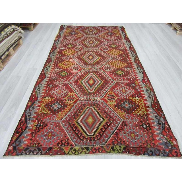 Islamic Vintage Turkish Kilim Rug - 5′10″ × 11′4″ For Sale - Image 3 of 6
