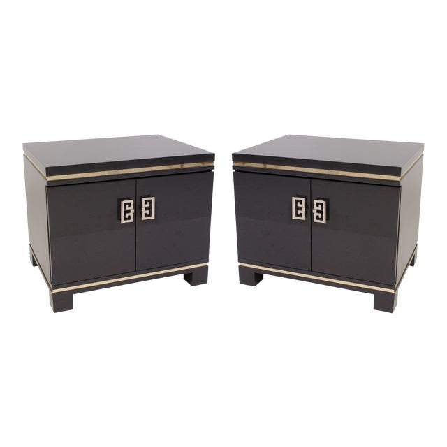 Mid-Century Grey Lacquer & Brass Greek Key Pulls Nightstands - Pair - Image 1 of 7