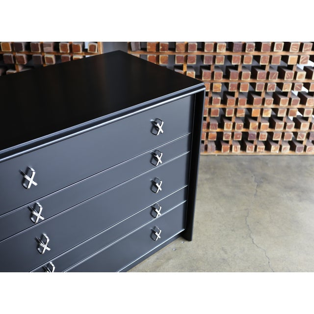 Metal 1950s Mid-Century Modern Paul Frankl for Johnson Furniture Company Ebonized Chest For Sale - Image 7 of 13
