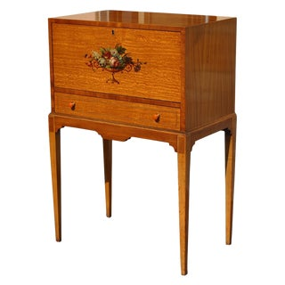 Mid Century Danish Modern Johnson Furniture Drop Front Secretary Desk For Sale