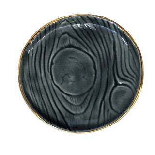 Faux Bois Gray Ceramic Ring Dish