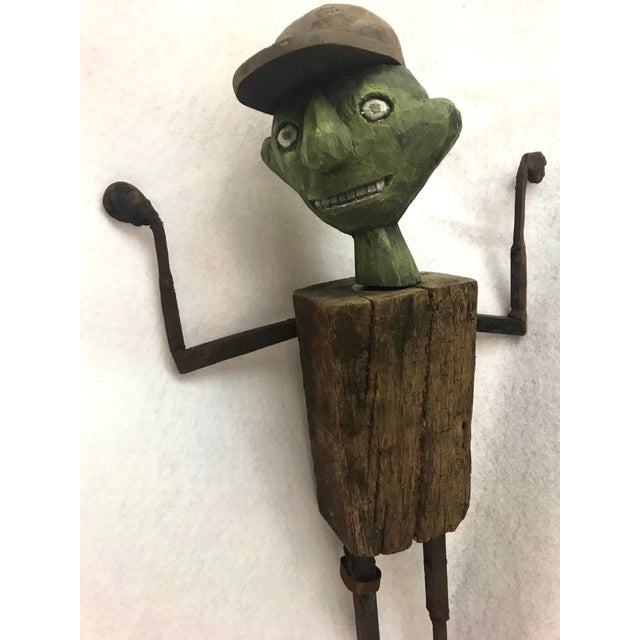 Metal 1980s Folk Art William Bill Skrips Sculpture of Boy With Baseball Hat For Sale - Image 7 of 10
