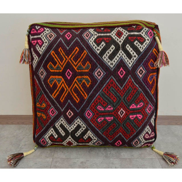 Turkish Hand Woven Kilim Floor Cushion Cover - Image 4 of 6