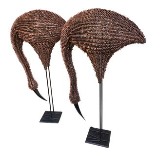 Mid-Century Rattan and Metal Flamingo Sculptures - a Pair For Sale