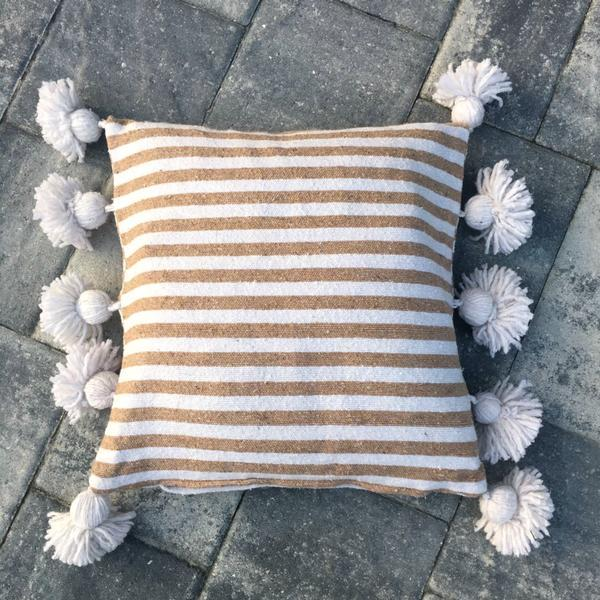 Boho Chic Tan & White Pom-Pom Pillow Cover For Sale - Image 3 of 3