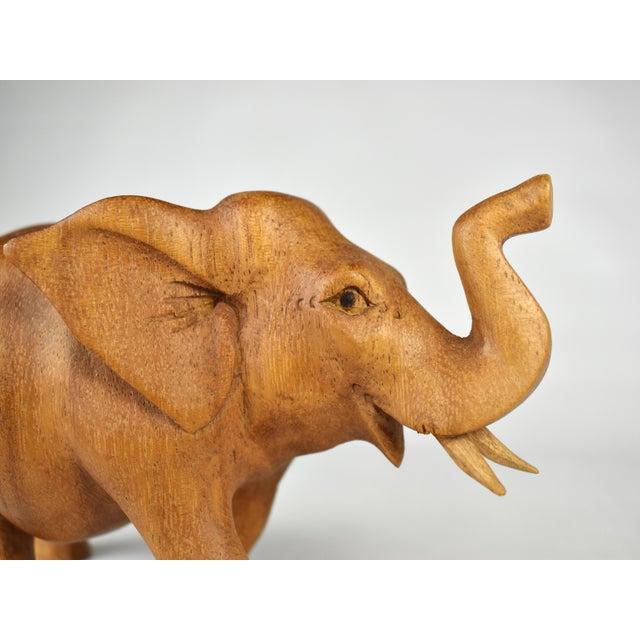 Vintage Hand Carved Wooden Elephant Figurine For Sale - Image 6 of 7