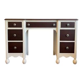 Vintage White & Wood Desk or Vanity