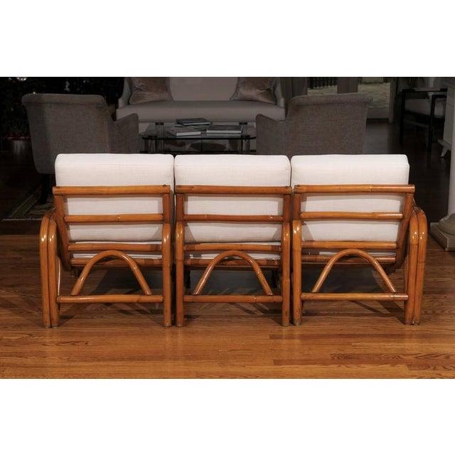 1950s Fantastic Restored Vintage Modern Rattan Three-Seat Sofa For Sale - Image 5 of 8