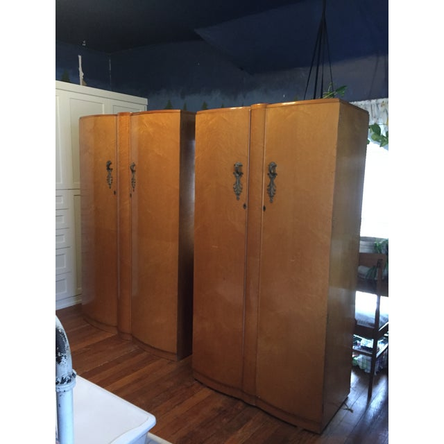 Birds Eye Maple Art Deco Wardrobes - a Pair For Sale - Image 13 of 13