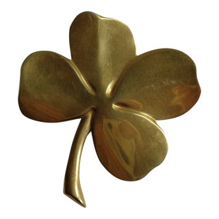 Vintage Brass Shamrock 4-Leaf Clover Paperweight With Poem