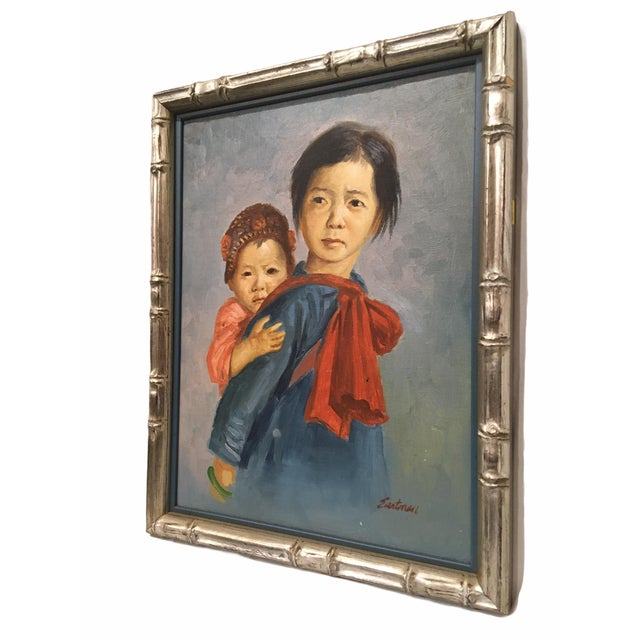 Portraiture Vintage Portrait of Mother and Child Oil Painting, Framed For Sale - Image 3 of 8