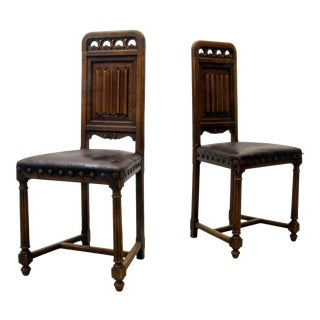 Early 18th Century Gouffe - Jeune Gothic Chairs- A Pair For Sale