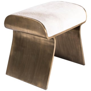 Dandy Stool Upholstered With Bronze-Patina Brass Details by Kifu Paris For Sale