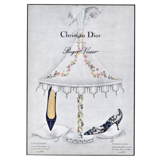 Matted Mid-Century French Dior Shoe Advertisement Print For Sale