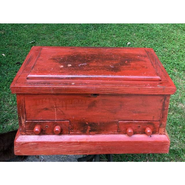 19th Century Primitive Carpenters Painted Chest/Box For Sale - Image 10 of 10