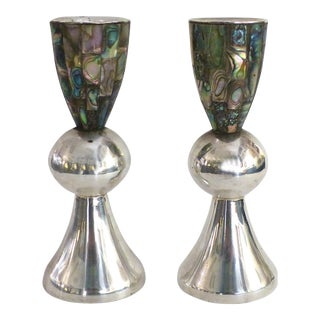 Los Castillo (Taxco, Mexico) Silver-plate and Abalone Candle Holders-a Pair For Sale