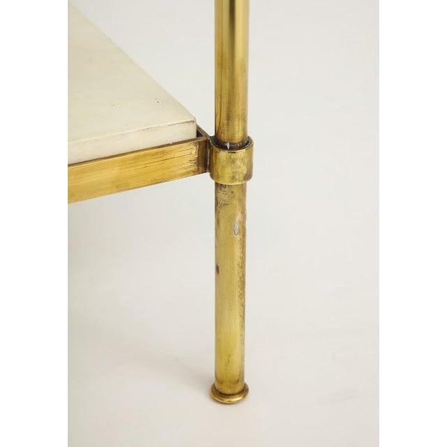Parchment and Bronze Coffee Table With Glass Top For Sale - Image 10 of 11