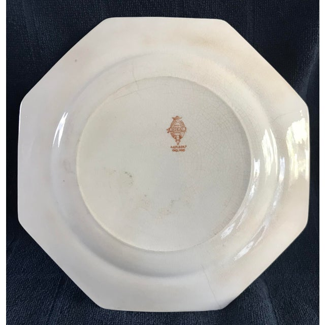 Asian Antique English Crown Ducal Ware Green China Hexagon Plate For Sale - Image 3 of 6