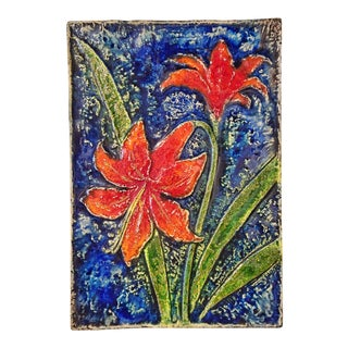 Werner Meschede 'Amariyllis' Botanical Wall Tile Nr. 7248 for Majolika Karlsruhe For Sale