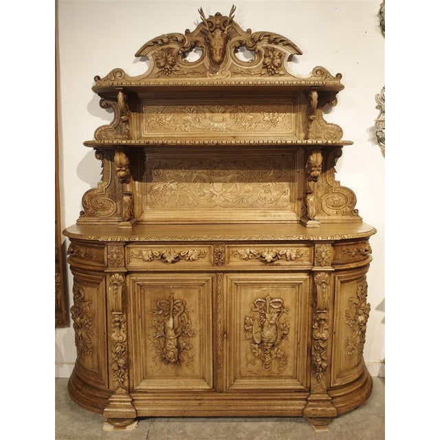 """Richly Carved French Hunt Buffet """"St. Hubert"""" in Blonde Oak, Circa 1890 For Sale - Image 13 of 13"""
