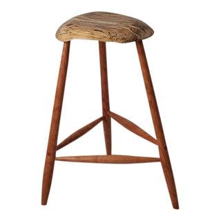 Bespoke Mid-Century Modern Style Wood Stool