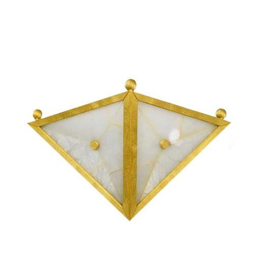 Gilt Bronze Triangular Sconces - Set of Four Sconces Possibly European Gilt bronze triangular sconces with alabaster and...