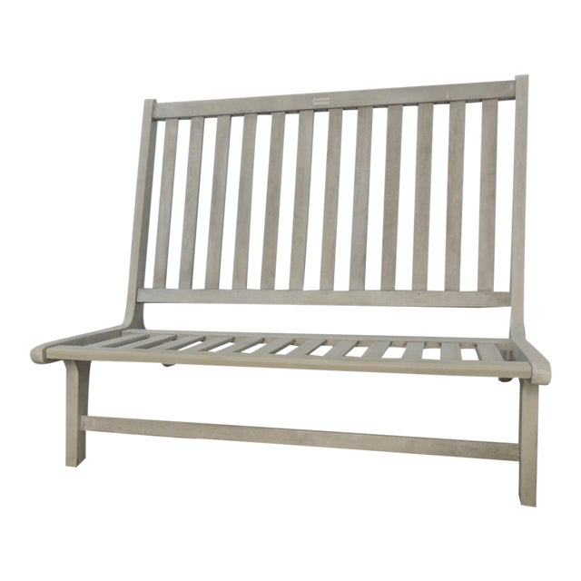 Outdoor Safavieh Weathered Finish Settee For Sale