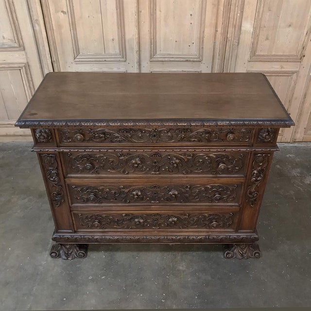 Brown 19th Century Italian Renaissance Walnut Commode For Sale - Image 8 of 13