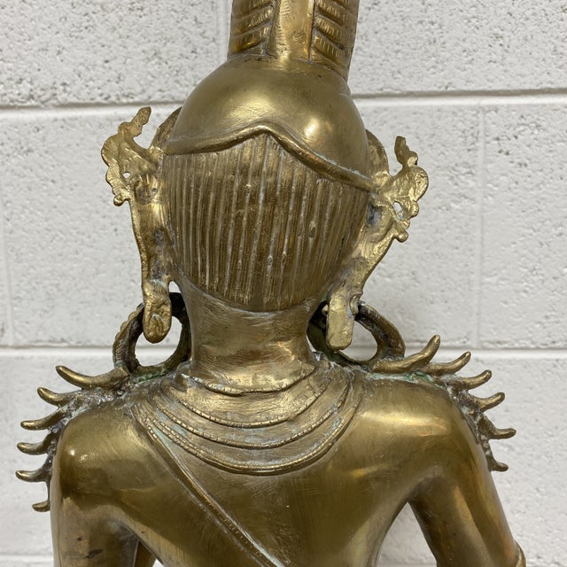 1960s Large Brass Hindu Statue Devi Parvarti For Sale - Image 5 of 13