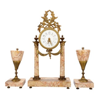 Antique French Louis XVI Rouge Marble and Bronze Garniture Clock Set, 3 Pieces For Sale