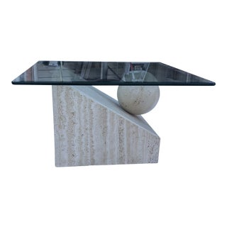Vintage Travertine and Ball Coffee Table For Sale