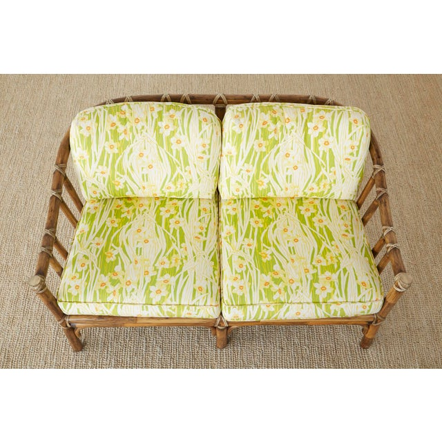 Late 20th Century McGuire Organic Modern Bamboo Rattan Settee Loveseat For Sale - Image 5 of 13