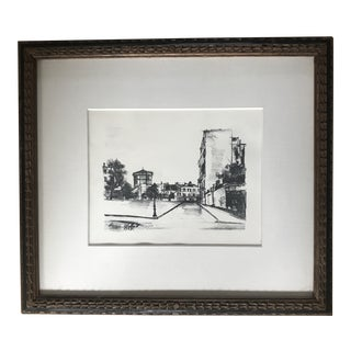 1920s Vintage Maurice Utrillo Montmarte Paris Framed Lithograph Print For Sale