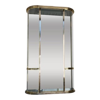 French Modern Brass and Glass Demilune Showcase