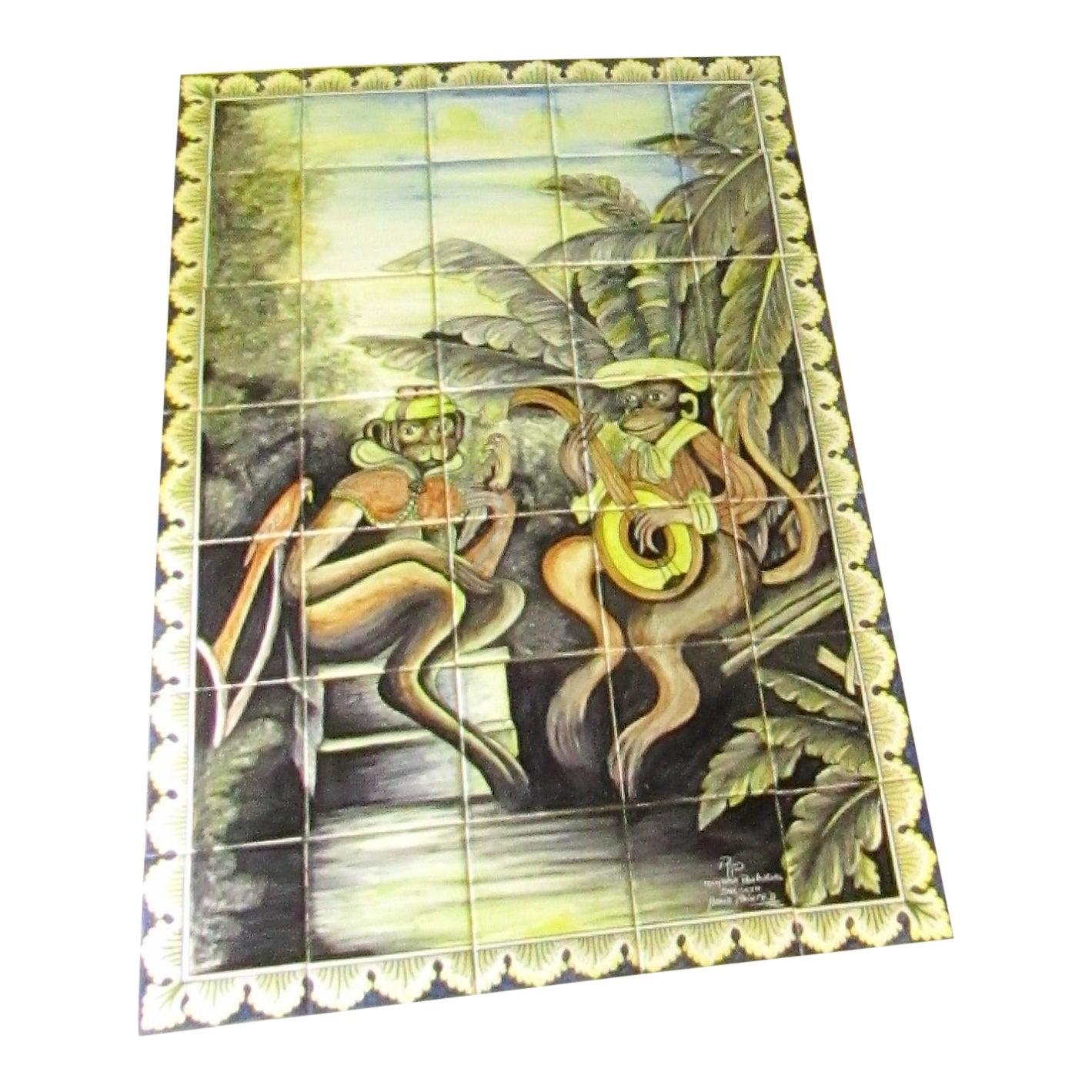 Large 35 Tile Wall Art Set Monkeys , Tropical , Handpainted Coimbra ...