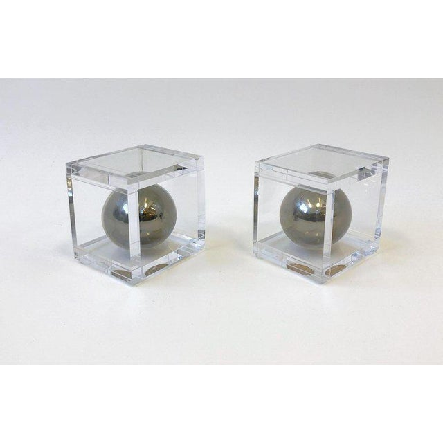 Charles Hollis Jones Pair of Lucite and Chrome Bookends by Charles Hollis Jones For Sale - Image 4 of 7