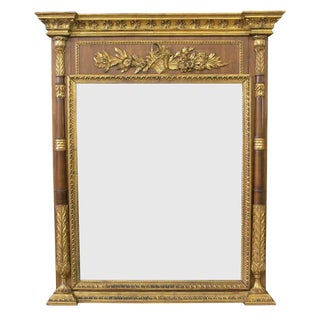 Late 19th Century Vintage Large Italian Neoclassical Style Carved Gilt Wood Mirror For Sale