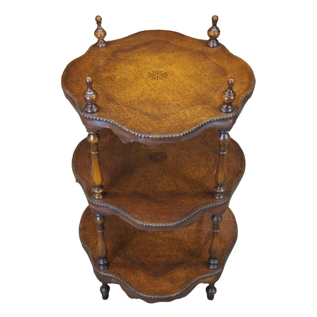 Traditional Vintage Theodore Alexander 3 Tier Leather Turtle Top & Nailhead Accent Side Tables - a Pair For Sale - Image 3 of 11