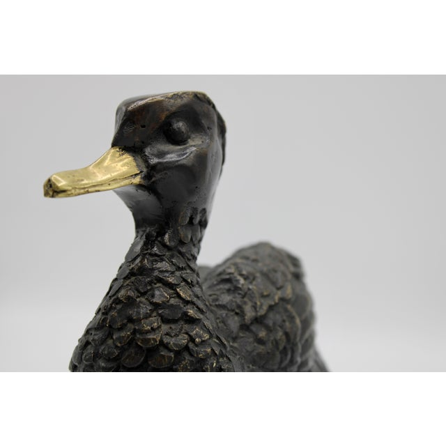 1950s Vintage Bronze Waterfowl Sculpture For Sale - Image 10 of 13