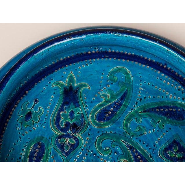 Large Italian Bitossi Turquoise Glazed Patterned Bowl circa 1965 For Sale - Image 9 of 10
