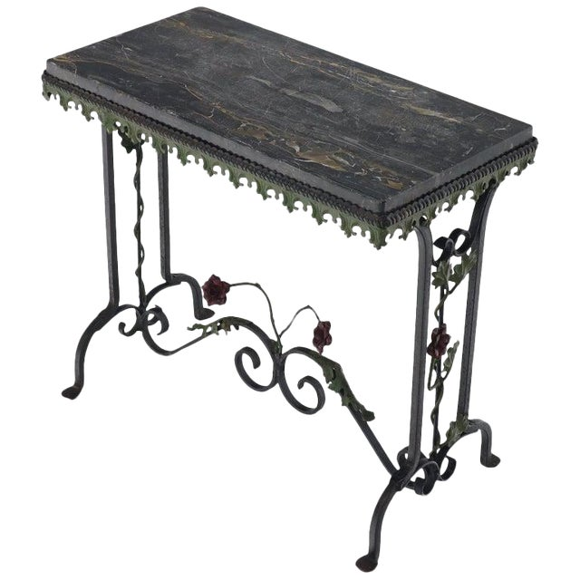 Black Marble Top Ornate Wrought Iron Side Console Table For Sale
