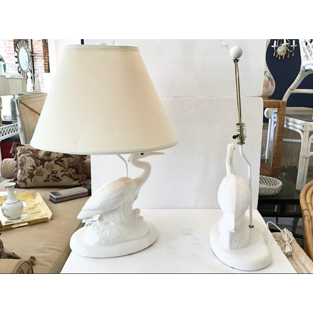 Modern Vintage Coastal White Reverse Birds Lamps With Shades-Pair For Sale - Image 3 of 8