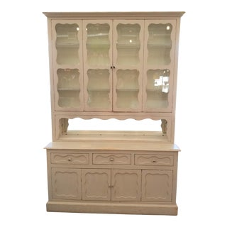 Arhaus Shabby Chic White Display Hutch, Glass Cabinet Top