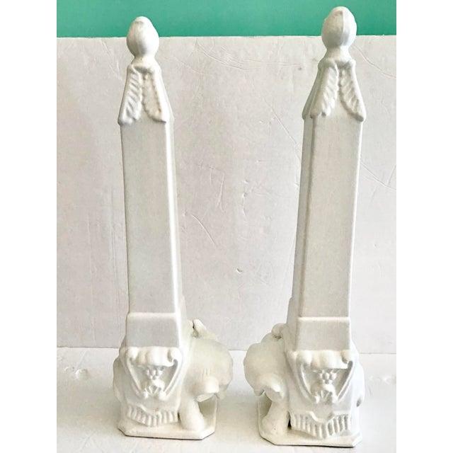 1950s White Ceramic Asian Elephants Obelisks - a Pair For Sale - Image 5 of 6