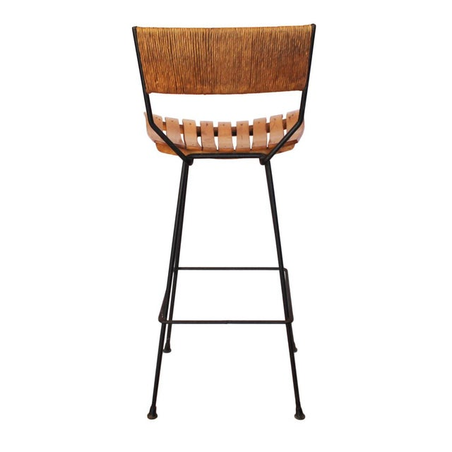 Iron, Raffia and Bentwood Bar Stool by Arthur Umanoff - Image 4 of 4