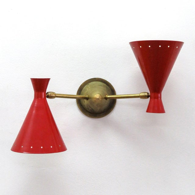 Red Italian Double Wall Light - Image 3 of 10